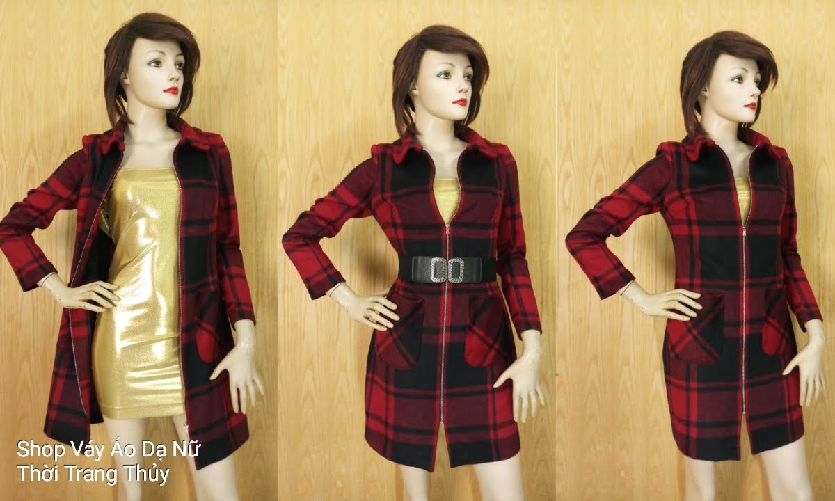 Áo váy dạ nữ dáng dài kẻ caro kéo khóa V649 Thời Trang Thủy