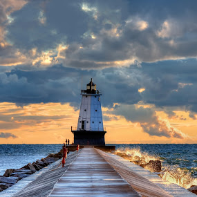 Lighted Storm by Charles Anderson Jr - Landscapes Waterscapes ( light house )