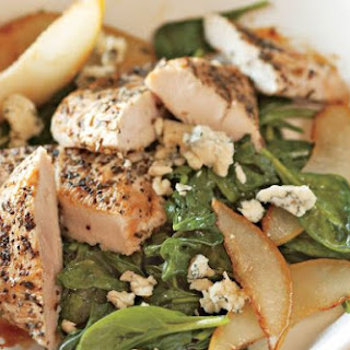 Turkey Steaks With Spinach, Pears, And Blue Cheese.
