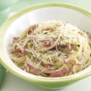 Spaghetti with Salami and Zucchini