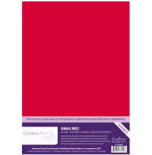 Crafters Companion Centura Pearl Card Pack A4 10Pkg 300gr - Xmas Red