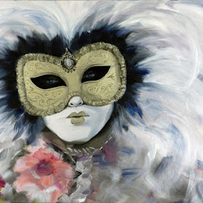 Il Sogno di una Bella Principessa by Kerry  Milligan - Painting All Painting ( carnival, acrylic, canvas, mask, venetian,  )