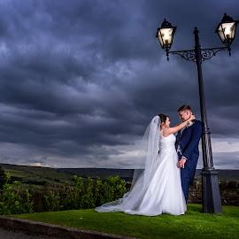 Kiss Under the Lamp by Joe Jones - Wedding Bride & Groom ( wedding photography, wedding day, wedding, bride, groom )