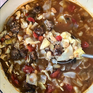 White Bean Cabbage Sausage Soup