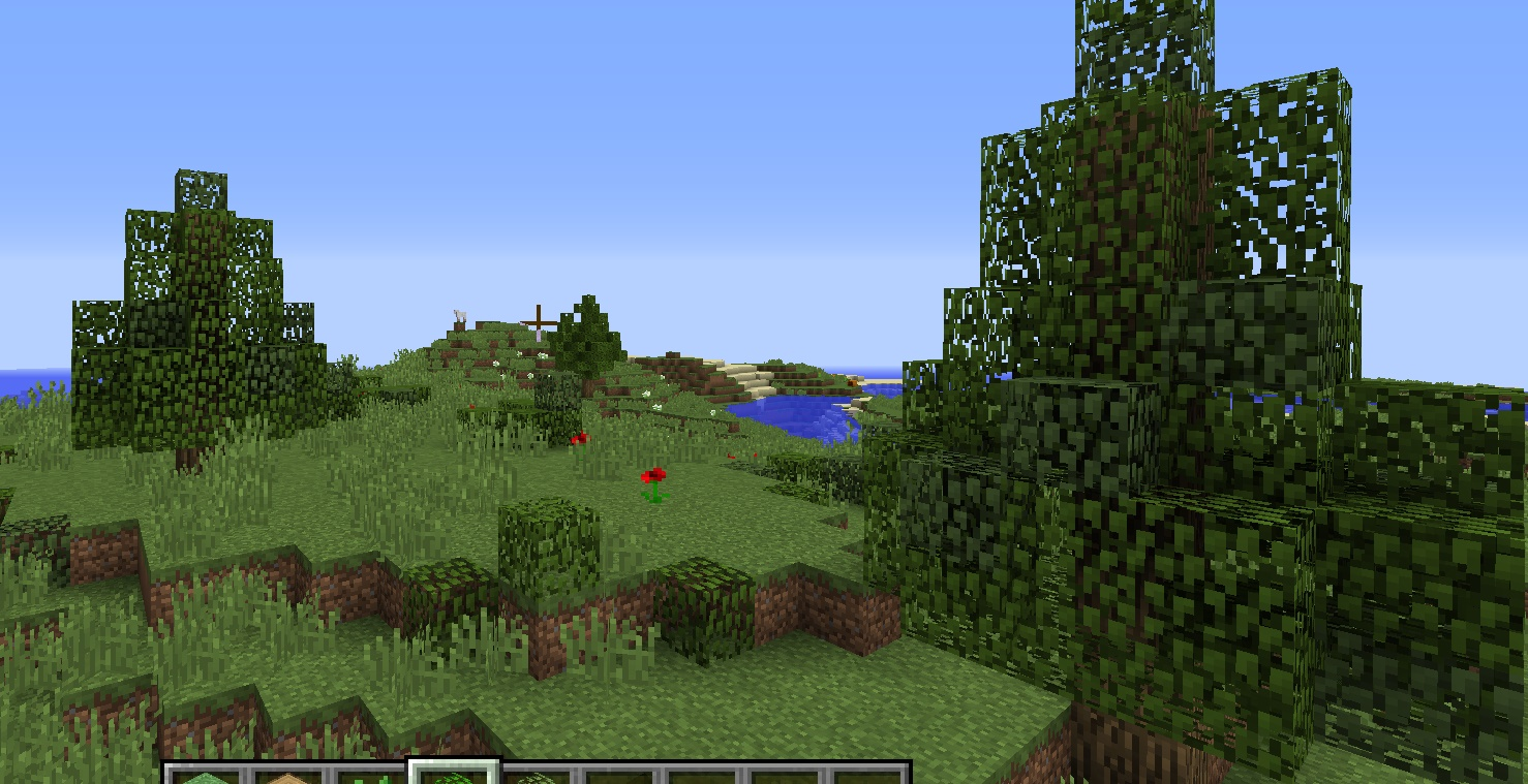 This is the plains biome by far the easiest i think i just made a few of those trees im always making with oak logs and mixed oak and birch leaves more