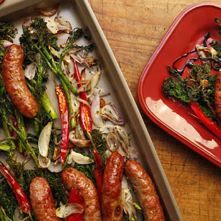 Roast Broccolini or Broccoli Rabe with Sausages Recipe