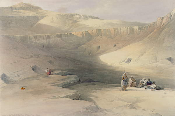 Image of Entrance to the Valley of the Kings, from 'Egypt and Nubia', engraved by Louis Haghe (1806-85) (colour litho), Roberts, David (1796-1864) (after) / English, Private Collection, © Bridgeman Images