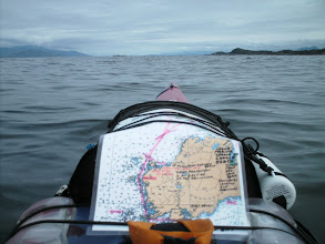 Photo: Crossing Smith Sound with Calvert Island in the distance across Fitz Hugh Sound.