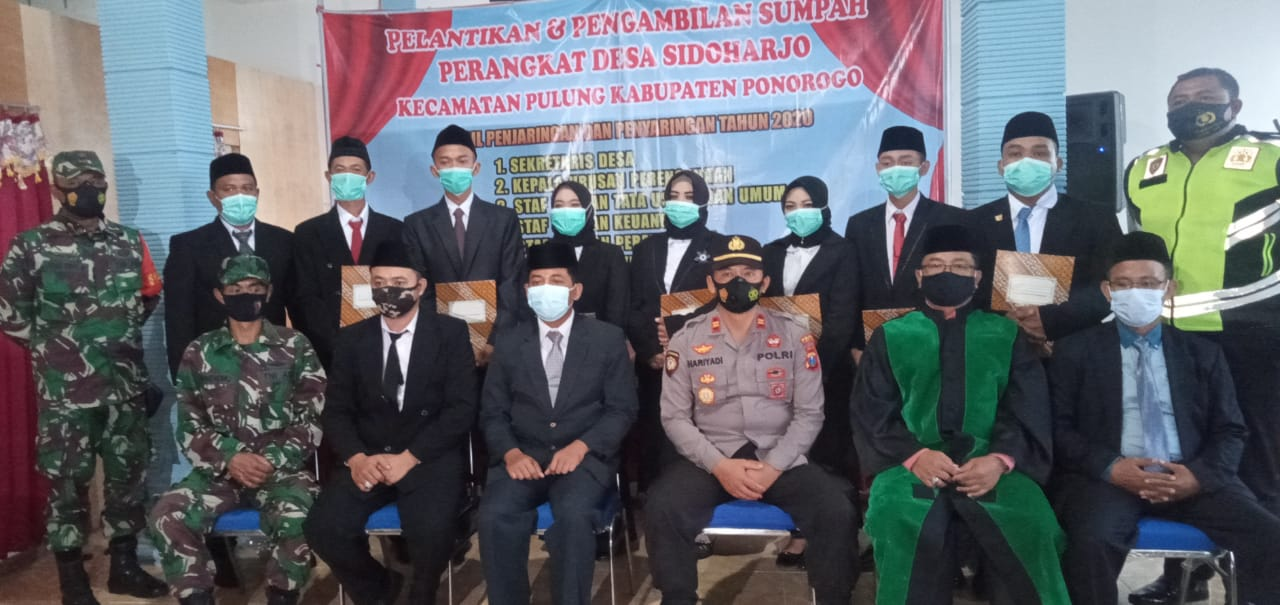 Pelantikan dan Pengambilan Sumpah Perangkat Desa Sidoharjo Kecamatan Pulung Kabupaten Ponorogo