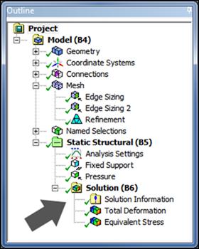 ANSYS В дереве построения модели в ANSYS Mechanical среди инструментов раздела Solution (решение) вверху есть папка с большим восклицательным знаком.