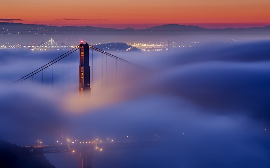 Goldie by Raj Golawar - Buildings & Architecture Bridges & Suspended Structures ( sf, golden gate, san francisco, night, lights )
