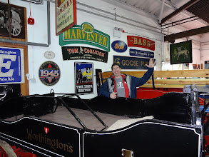 Photo: Lee mugs with the vintage vehicles at the National Brewery Centre in Burton-Upon-Trent.