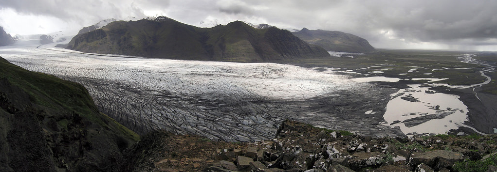 Panoramic view of Skaftafellsjökull from Sjónarnípa. Skaftafell National Park, Iceland.