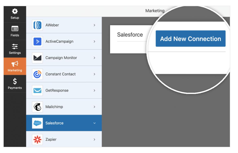 Add new Salesforce account WPForms