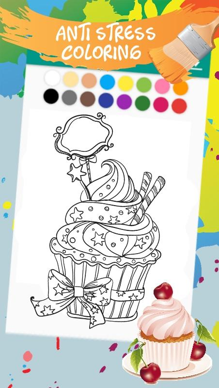 Coloring Book For Adults Cats And Sweets Screenshot