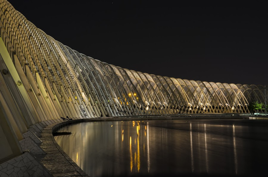 Agora at night (II) by Sergio Georgakopoulos - Buildings & Architecture Bridges & Suspended Structures ( water, lights, reflection, oaka, greece, athens, night, calatrava, city,  )