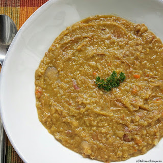Slow Cooker Split Pea Soup w/Smoked Turkey.