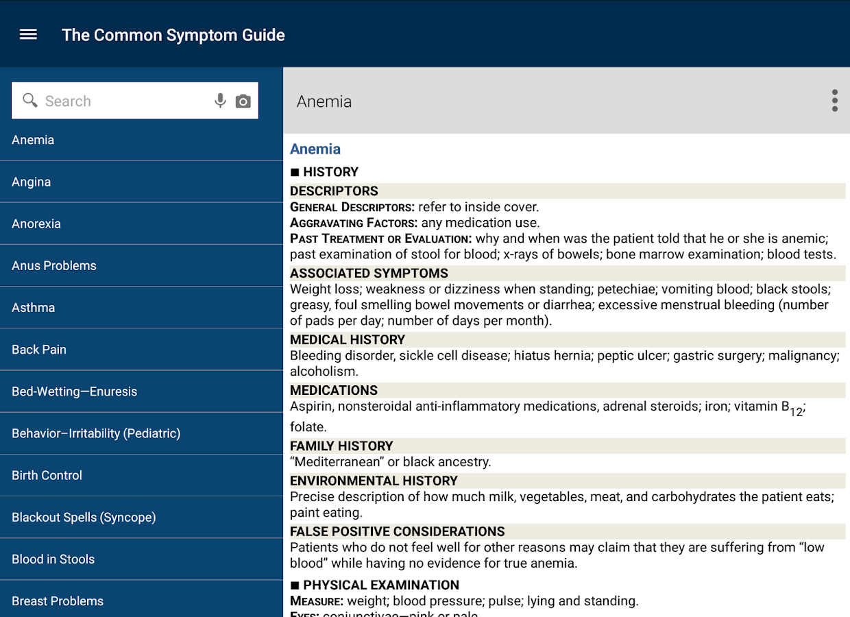 Common Symptom Guide- screenshot