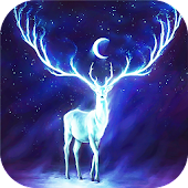 Night Bringer : Magic glowing deer live wallpaper