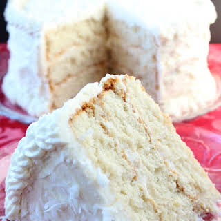 Creamy White Cake with Buttercream Frosting.