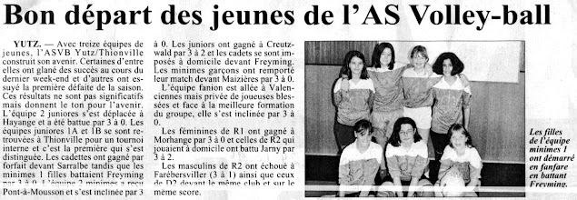 Photo: 24-10-96 Les minimes filles 1 ont battu Freyming 3-0
