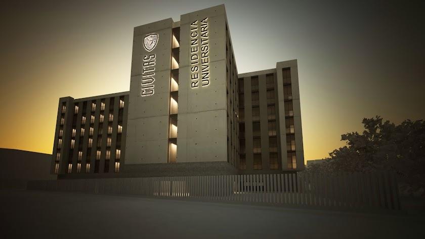 Residencia Universitaria Civitas, junto a la Avenida del Mediterráneo de la capital.