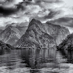 Clearing storm by David Feuerhelm - Black & White Landscapes ( mountains, reflections, black and white, clouds, landscape )