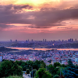Istambul by Abdul Rehman - City,  Street & Park  Vistas ( clouds, sunset, bridge, istanbul, turkey,  )