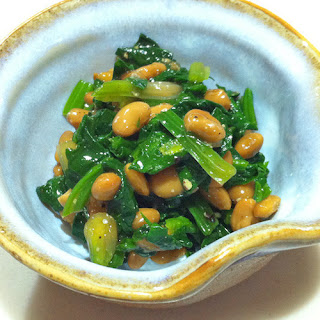 Stewed Spinach with Natto