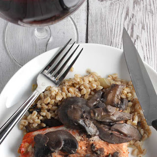 Grilled Salmon with Mushroom Sauce