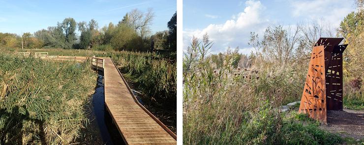 left: Morden Hall Park, photo via Wild Deck Company.   right: Bird Blind, photo via Plant Architect.