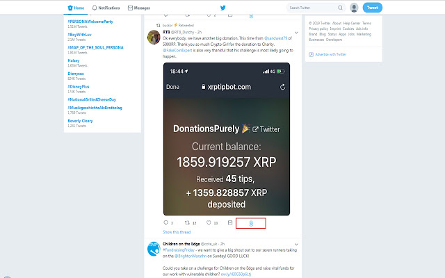 XRPTipBot Statistics Link on Twitter