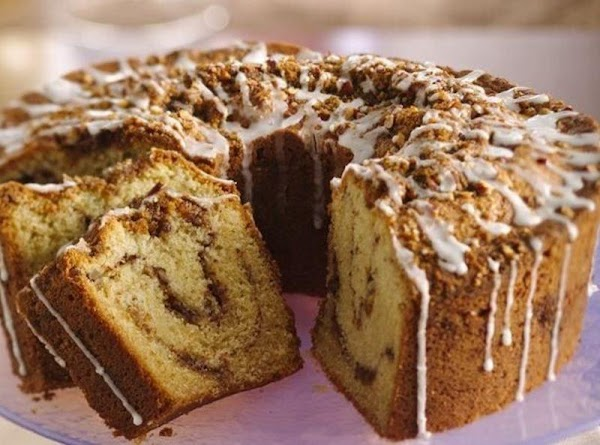 This makes one's mouth water, and makes the house smell like heaven! Baked in a tube pan, makes enough for 16 servings. Beautiful and delicious with or without glaze. I don't cover it with glaze.