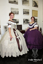 """Photo: Vestidos """"Early Victorian"""" ( 1860 ) em crepe bege e shantung marrom com rendas e babados e laços e vestido em tafetá violeta com rendas e babados. Era das crinolinas, a partir de R$ 600,00 cada. — com Lola Carstens."""
