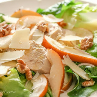 Wine Poached Chicken, Pear and Walnut Salad
