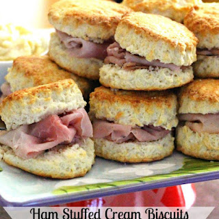 Ham Stuffed Cream Biscuits With Honey Dijon Butter.