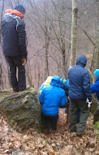 Photo: Dave overseeing the careful hike down through the slippery leaves!