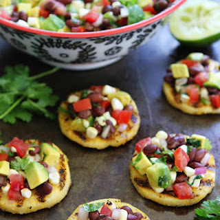 Grilled Polenta Rounds with Black Bean and Avocado Salsa