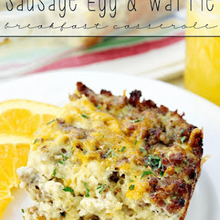 Sausage Egg & Waffle Breakfast Casserole.
