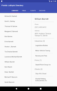 Florida Lobbyist Directory- screenshot thumbnail