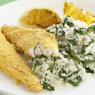 Cornflake Crusted Fish with Spinach Pilaf.