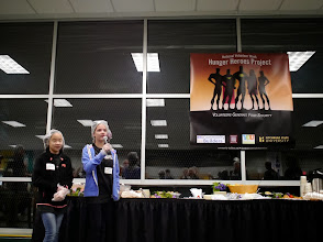 Photo: Kylee speaking to the volunteers at the Hunger Heroes Project during National Volunteer week on April 23rd 2013.