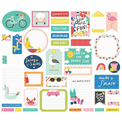 Simple Stories Bits & Pieces Die-Cuts 39/Pkg - Sunkissed Journal