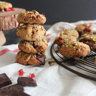 Pistachio Crusted Chewy Chocolate Chip Cranberry Cookies