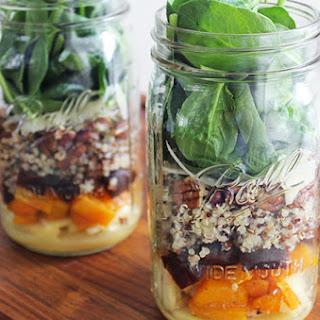 Butternut Squash and Quinoa Fall Harvest Mason Jar Salad Recipe
