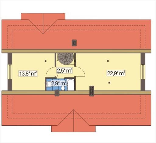 Alex wersja C bez garażu strop Teriva - Rzut poddasza