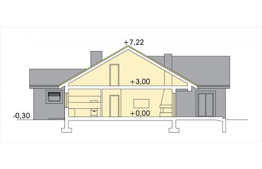 Ambrozja 2 wersja B z poddaszem do adaptacji z pojedynczym garażem - Przekrój