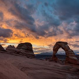Delicate Arch Sunrise by John Williams - Landscapes Sunsets & Sunrises ( sunrise, arches national park, delicate arch )