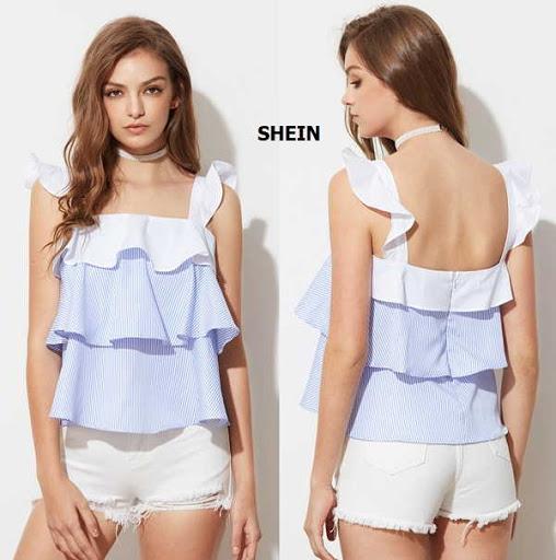 Blusa de tiras con bolero y capas a rayas y unicolor por Shein