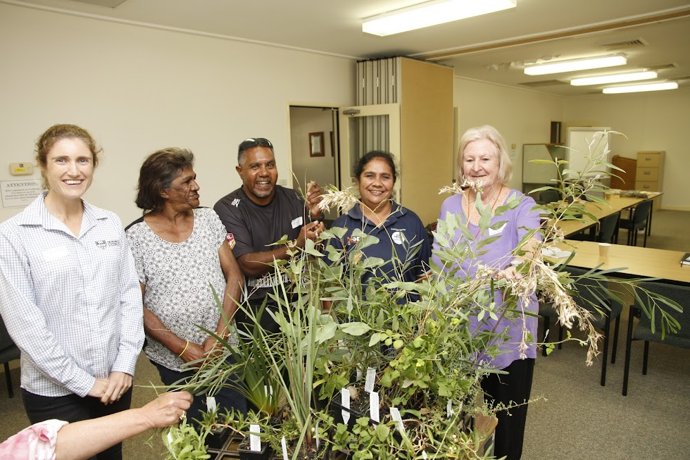 Angela Pattison, Therese Wenner, Wee Waa Aboriginal Lands Council chairman Cliff Toomey, Sharon Gibbs and Lands Council chief executive Robyn Keeffe were among those who explored the proposal for an Indigenous Food Research Park at the University of Sydney Plant Breeding Institute.